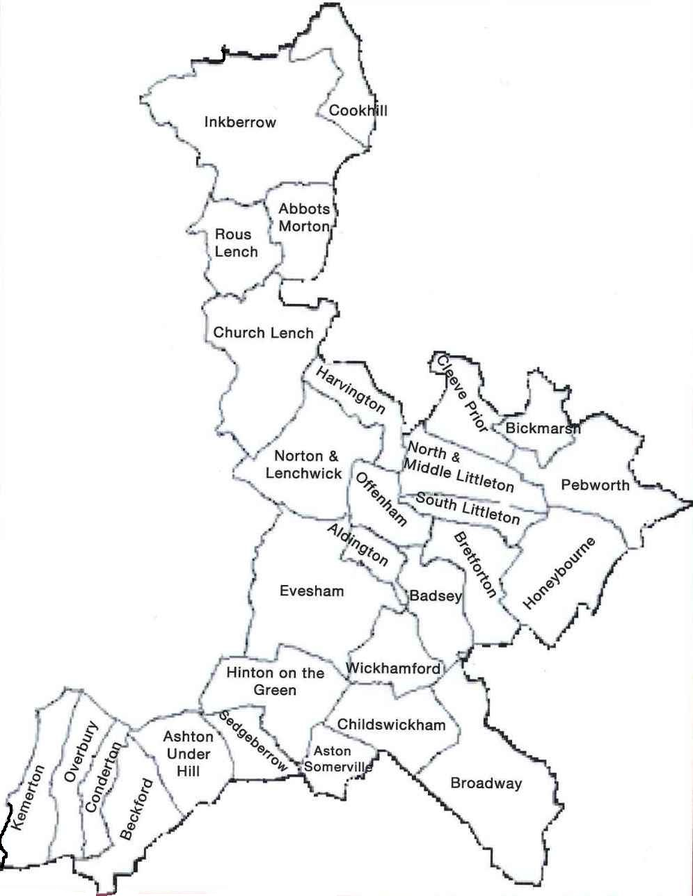 Map of the area served by Evesham Volunteer Centre