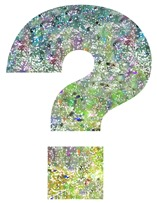 Picture of a question mark in blues and greens
